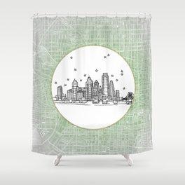 Philadelphia, Pennsylvania City Skyline Illustration Drawing Shower Curtain
