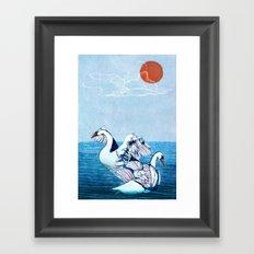 Swan Blues Framed Art Print