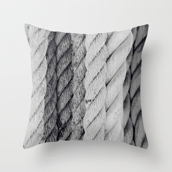 Ropes Black and White Nautical Throw Pillow