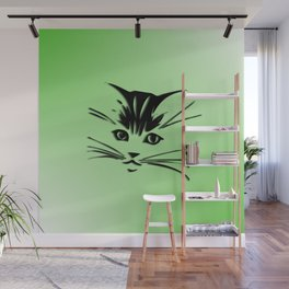 Green Cat Face Wall Mural