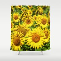 sunflowers Shower Curtains featuring Sunflowers. by Assiyam