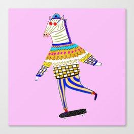 Zebra Skateboarder. Canvas Print