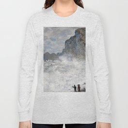 1883-Claude Monet-Rough weather at Étretat-65 x 81 Long Sleeve T-shirt