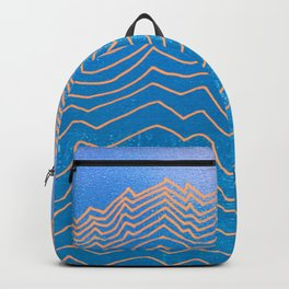 Abstract mountain line art in blue sky grunge textured vintage illustration background Backpack