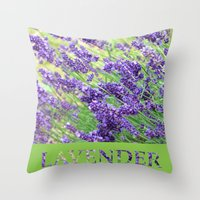 lavender Throw Pillows featuring Lavender by Woolpecula