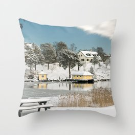 Winter scandinavian landscape Throw Pillow