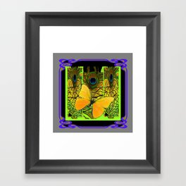 GREY-PURPLE ART NOUVEAU PEACOCK BUTTERFLY Framed Art Print