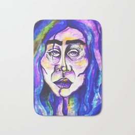 Purple Portrait Of A Woman Surreal Pastel Blue Sadness Frida Kahlo Bath Mat