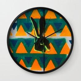 Triangle Rabbit Street Art Wall Clock