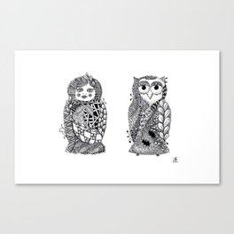 Babushka n Owl Canvas Print