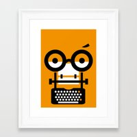typewriter Framed Art Prints featuring typewriter by oguzhan