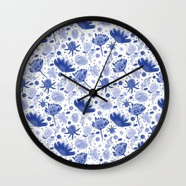 Afternoon Tea - Blue Floral Chinaware Pattern Wall Clock