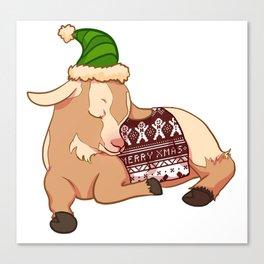 Sleeping Christmas Sweater Goat Canvas Print