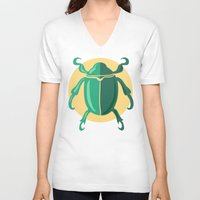 beetle V-neck T-shirts featuring beetle by Cardinal Design