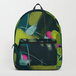 abstract jungle fever leaves in floral green Backpack