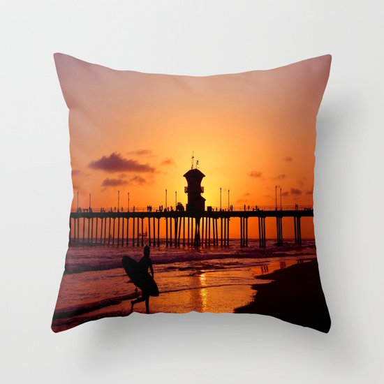 Surfers Sunset Throw Pillow