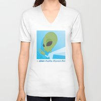 selfie V-neck T-shirts featuring Selfie by Michael Patrick