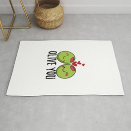 Olive You | I Love You | Valentine's Day Heart Rug