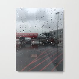 Water Drops On Plane Window Metal Print