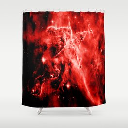 galAXY. Red Mystic Mountain Nebula Shower Curtain