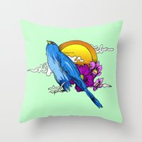 pigeon Throw Pillows featuring Pigeon by happytunacreative
