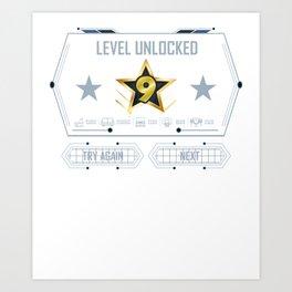 Level 9 Unlocked 9Th Gamer Birthday 2009 9 Year Old Shirt Art Print