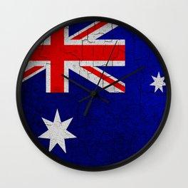 Cracked Australia flag Wall Clock