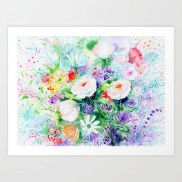 "Watercolor Painting ""Good Mood Flowers Art Print"