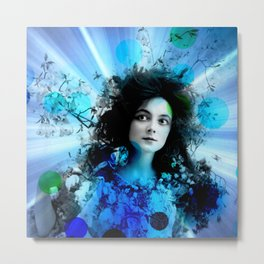 Psychedelic Moments Blue Metal Print