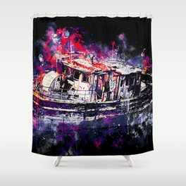 old ship boat wreck ws fn Shower Curtain