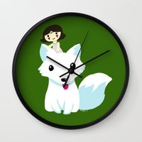 princess mononoke Wall Clocks featuring Princess Mononoke by Mayying