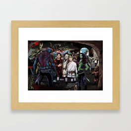 Guardians In A Galaxy Far, Far Away Framed Art Print