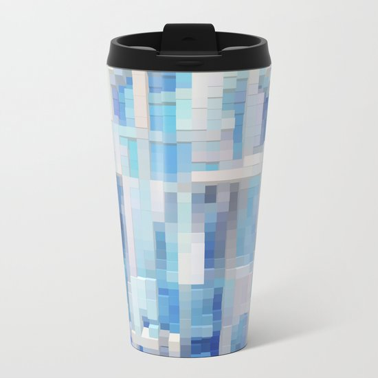 Abstract blue pattern 2 Metal Travel Mug