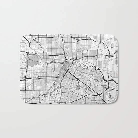 Houston Map Gray Bath Mat
