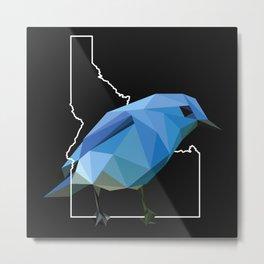 Idaho – Mountain Bluebird (Black) Metal Print