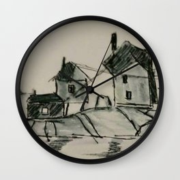 Houses by the sea Wall Clock