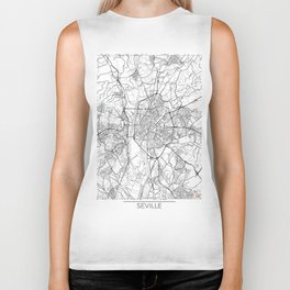 Seville Map White Biker Tank