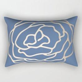 Flower in White Gold Sands on Aegean Blue Rectangular Pillow