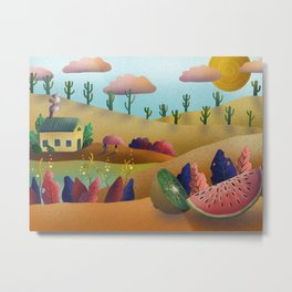 Digital Landscape Illustration Metal Print