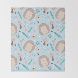Cute hedgehogs pattern Throw Blanket