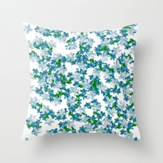 Summer Blues, Floral Pattern Throw Pillow