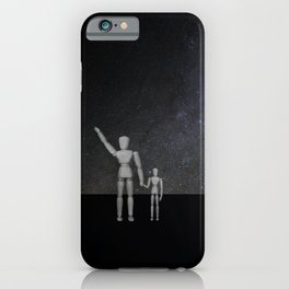 Wooden Anatomy Doll Father Points to Moon with Child iPhone Case