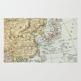 China, Russia, Japan Vintage Map Rug