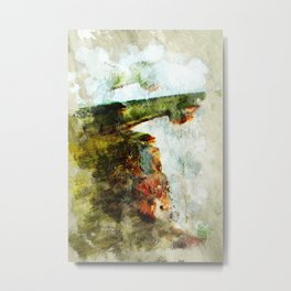 Cliffs Of Dover - Abstract in Green and Rust Orange Metal Print