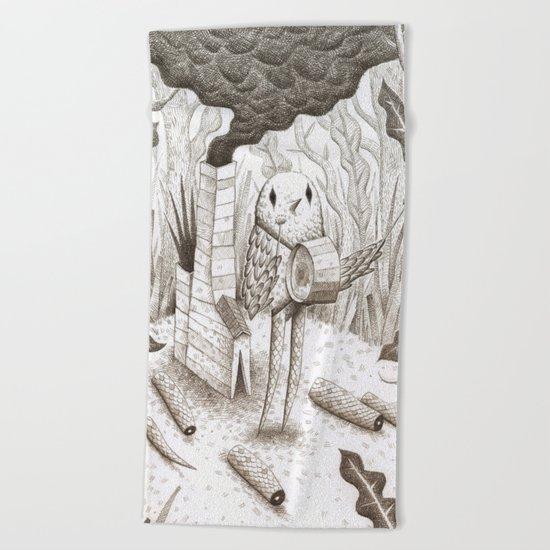 Drummer Bird Beach Towel