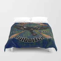 ravenclaw Duvet Covers featuring Ravenclaw team captain quidditch by JanaProject