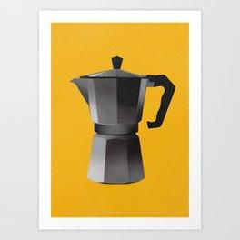 Classic Bialetti Coffee Maker Yellow Art Print