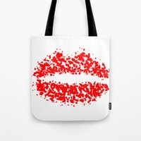 lips Tote Bags featuring LIPS by ROBAUSCH
