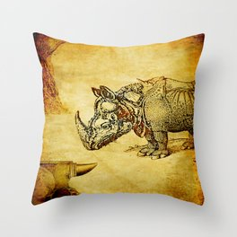 The anvil and the rhinoceros Throw Pillow