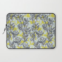 Leaf and Berry Sketch Pattern in Mustard and Ash Laptop Sleeve